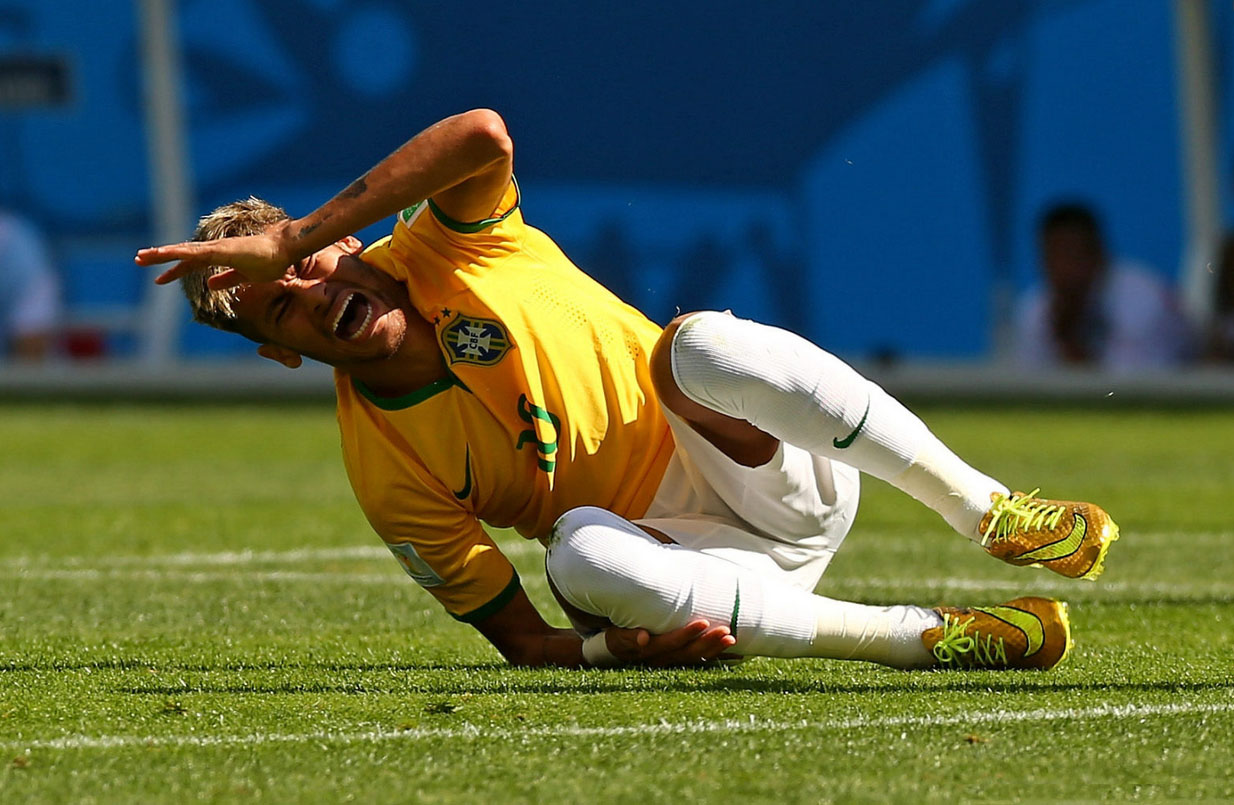 Neymar injured on his right leg, at the FIFA World Cup 2014