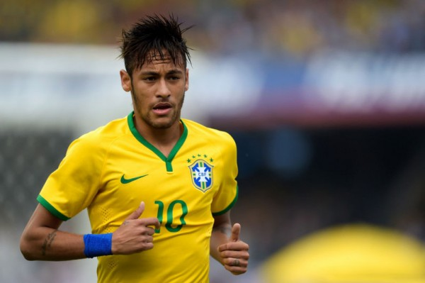 Neymar playing in the Brazilian National Team ahead of the World Cup 2014