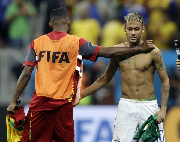 Neymar shirtless after a Brazil game in the 2014 FIFA World Cup