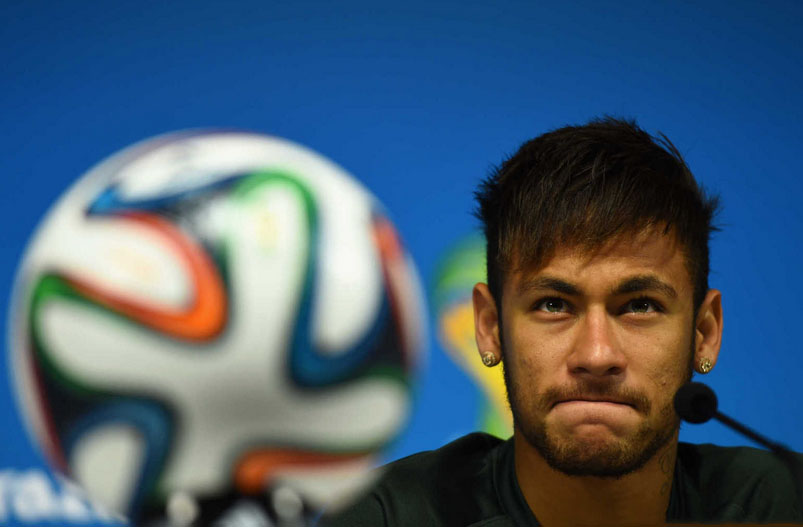 Neymar talking with journalists ahead of the World Cup debut