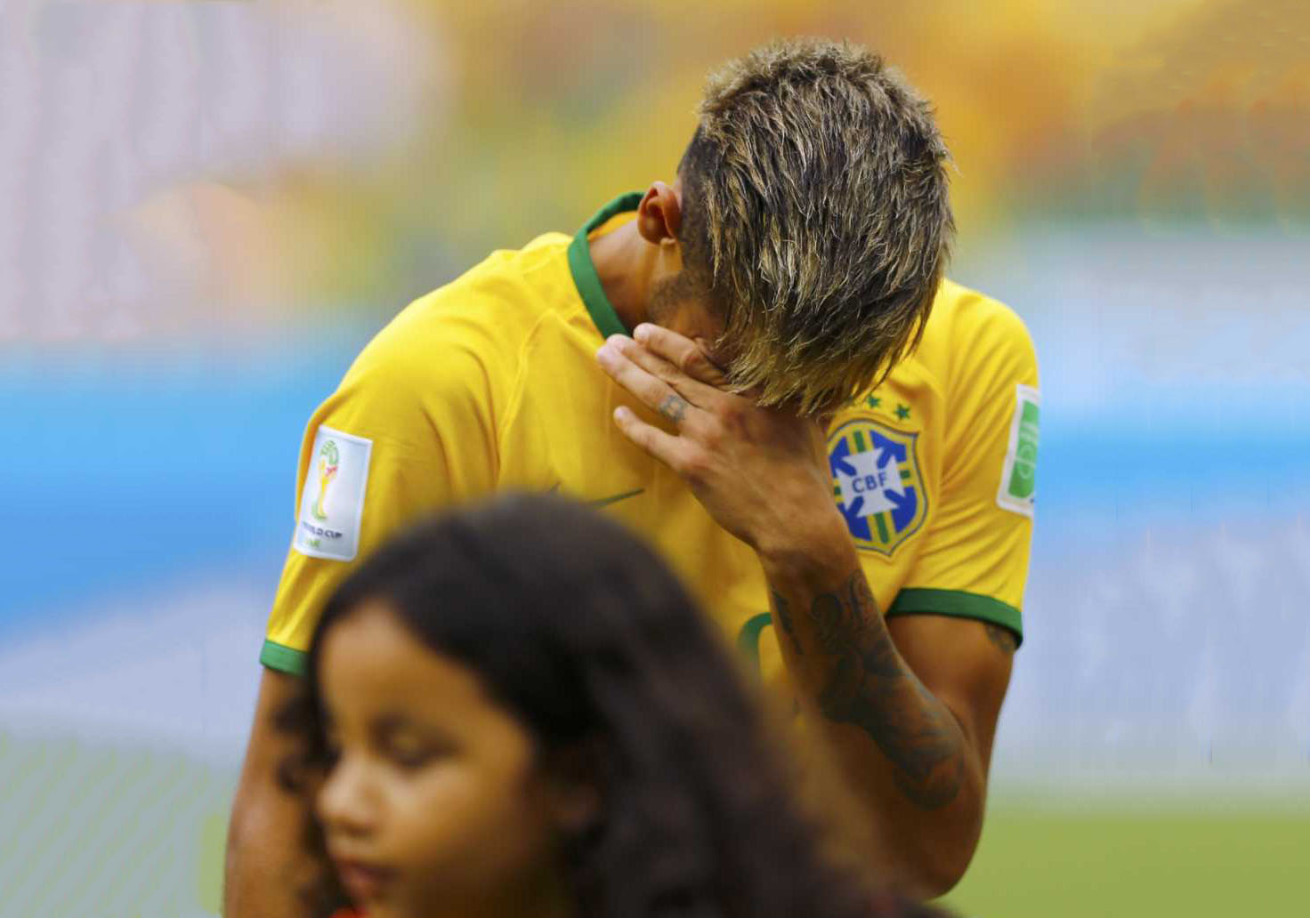 Neymar tears of emotion in the Brazilian National Anthem at the FIFA World Cup 2014