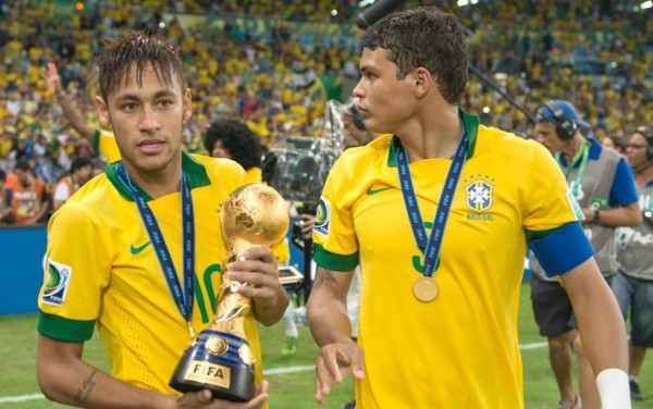 Neymar and Thiago Silva in Brazil World Cup 2014