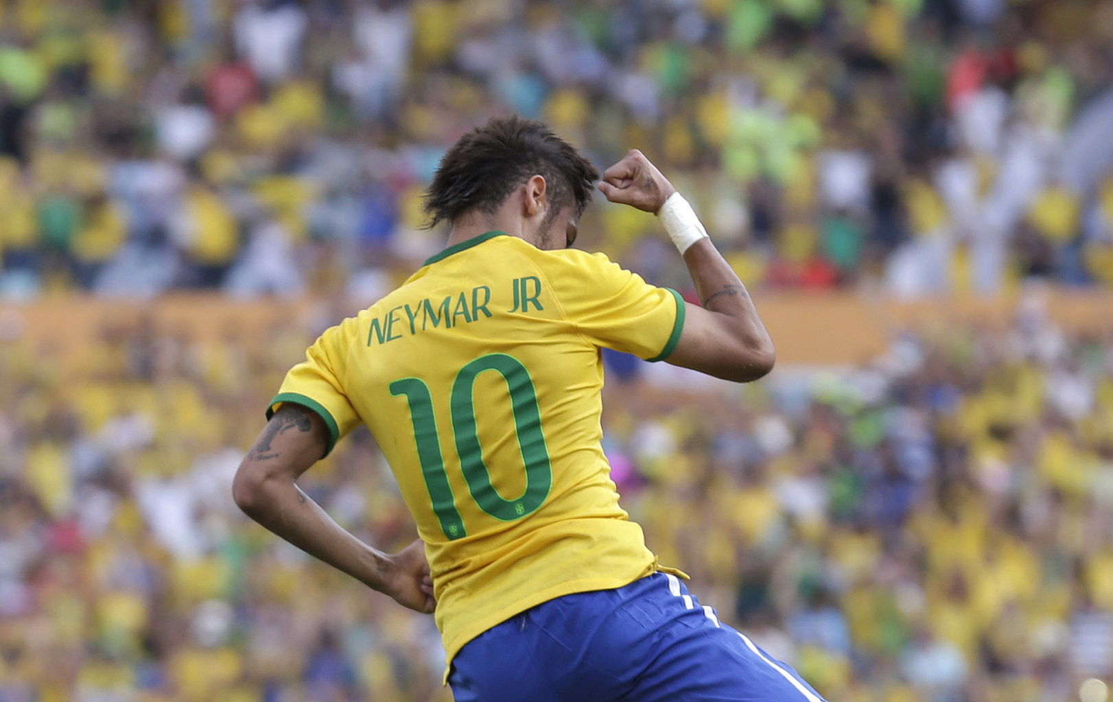 Neymar wearing Brazil's number 10 jersey in the FIFA World Cup in 2014
