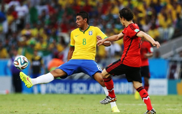 Paulinho in Brazil vs Mexico, for the FIFA World Cup 2014