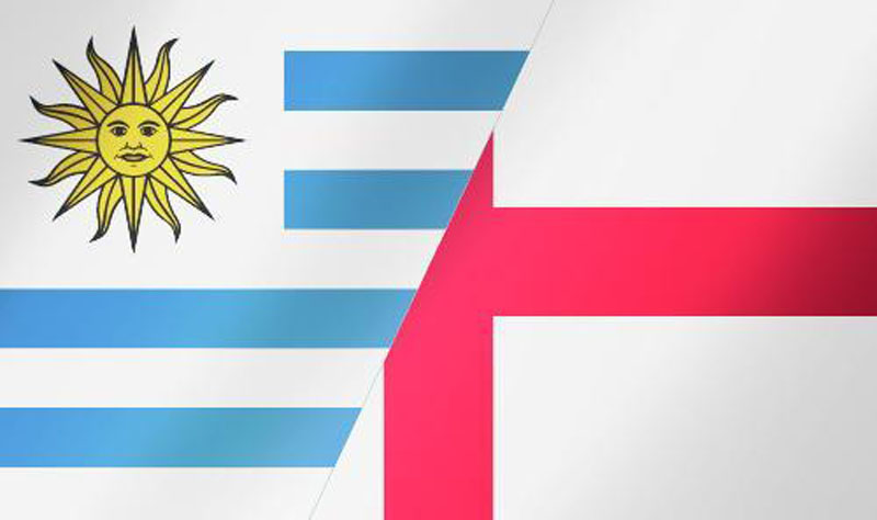 Uruguay vs England, National Team flags and banner