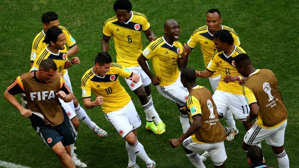 Colombia players dancing celebration after a goal in the 2014 FIFA World Cup