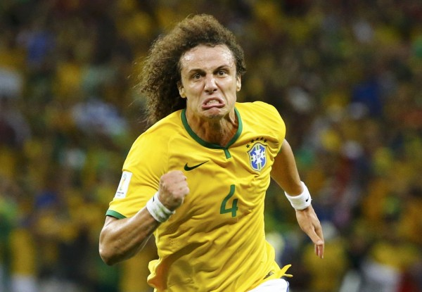 David Luiz goal celebration and crazy face, after scoring in Brazil 2-1 Colombia, in the FIFA World Cup 2014