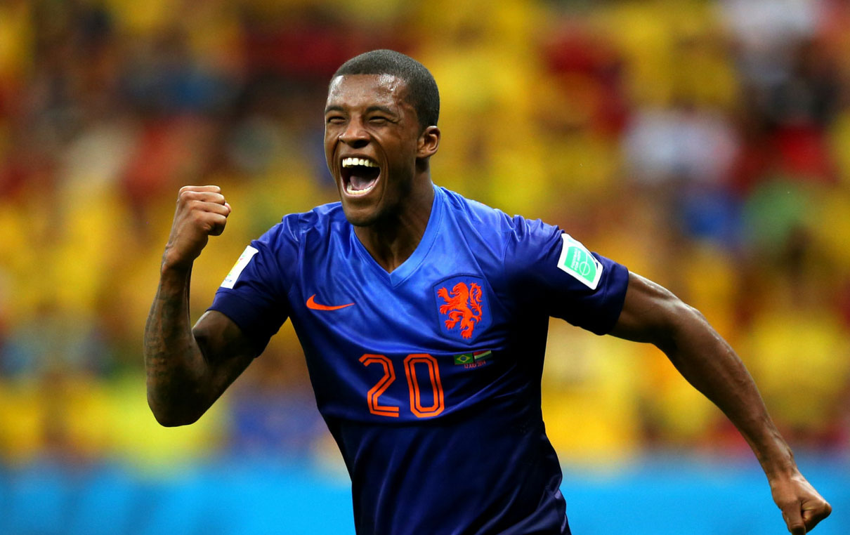 Georginio Wijnaldum goal for Netherlands, in the FIFA World Cup 2014