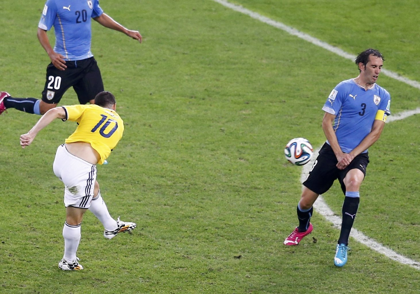 James Rodríguez goal in Colombia vs Uruguay at the FIFA World Cup 2014
