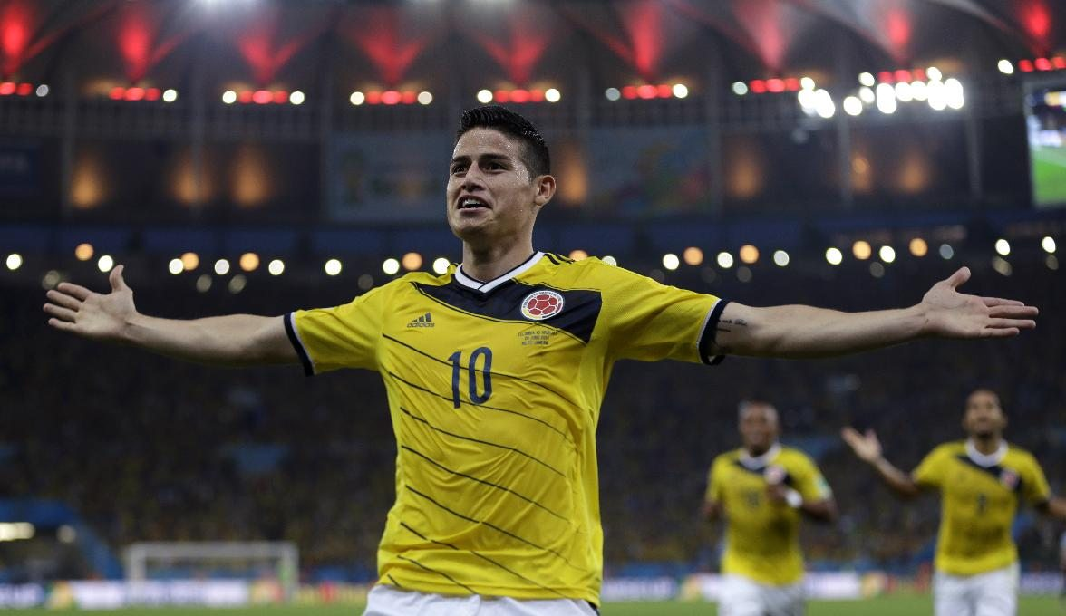 James Rodríguez playing for Colombia, in the 2014 FIFA World Cup