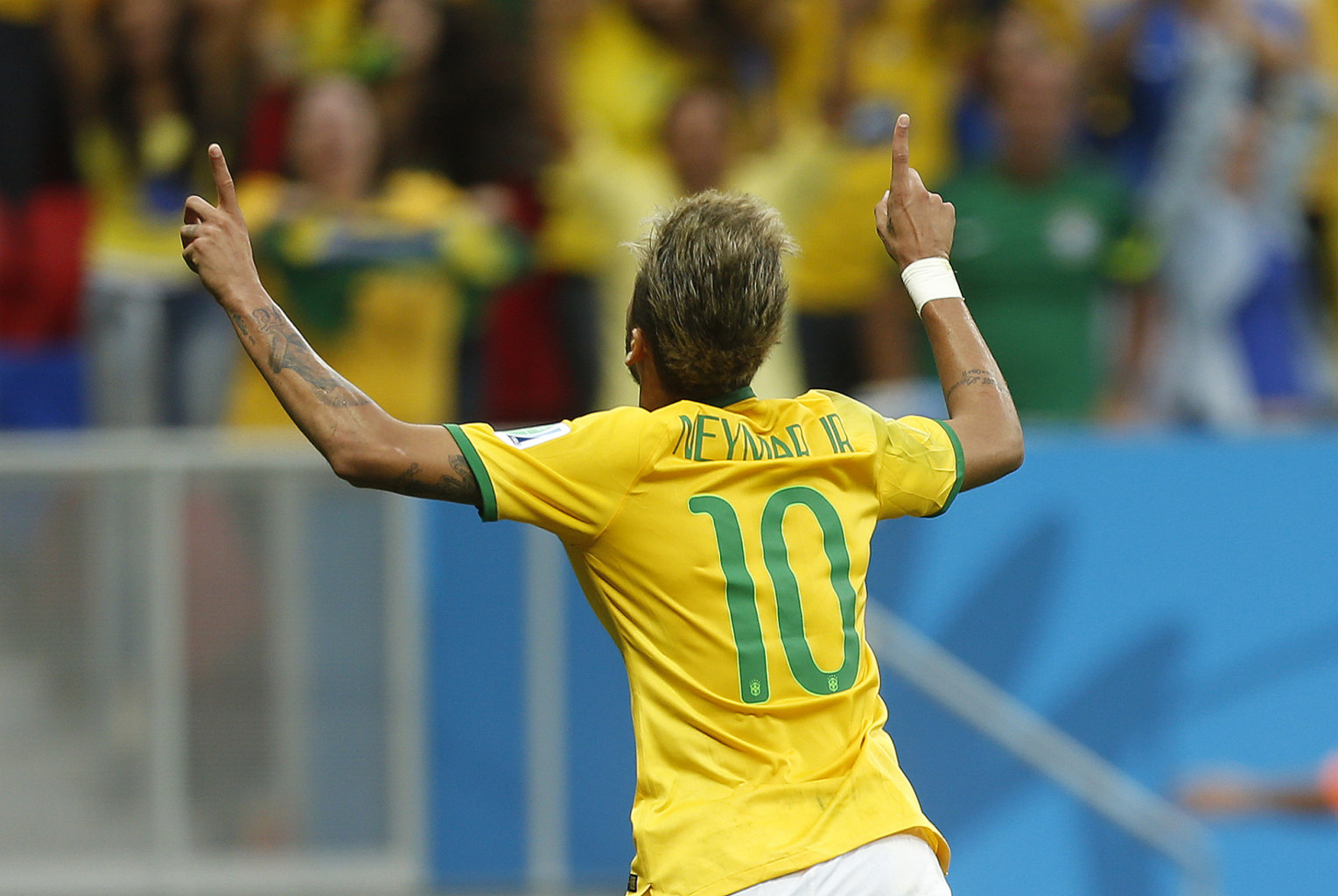 Neymar celebrating a goal in the World Cup