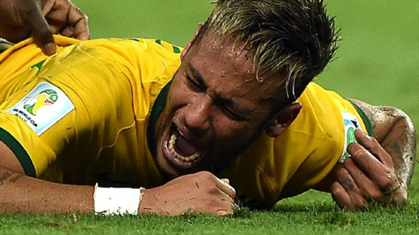 Neymar face of pain, after his vertebra fracture injury, in the World Cup