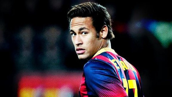 Neymar looking back during a game for FC Barcelona