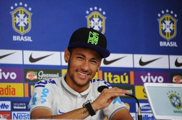 Neymar smiling in the press conference, ahead of Brazil vs Colombia