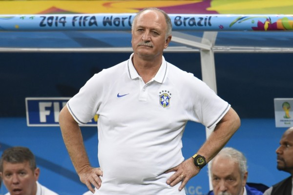 Scolari in Brazil's bench during the 2014 FIFA World Cup