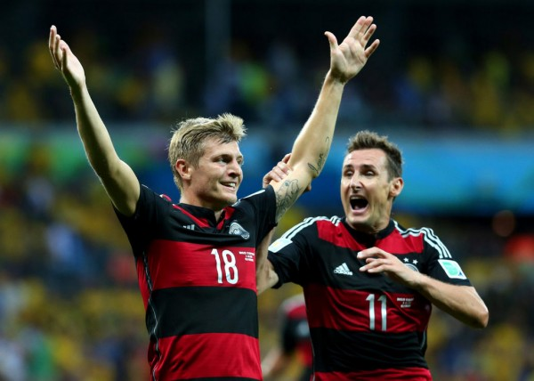 Toni Kroos celebrates Germany 7-1 win over Brazil, in the FIFA World Cup 2014