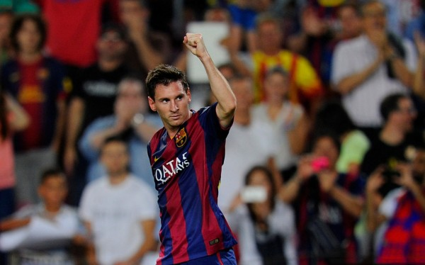 Lionel Messi celebrating his first goals for Barça in 2014-15