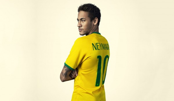 Neymar wearing the Brazilian National Team jersey in a photoshoot