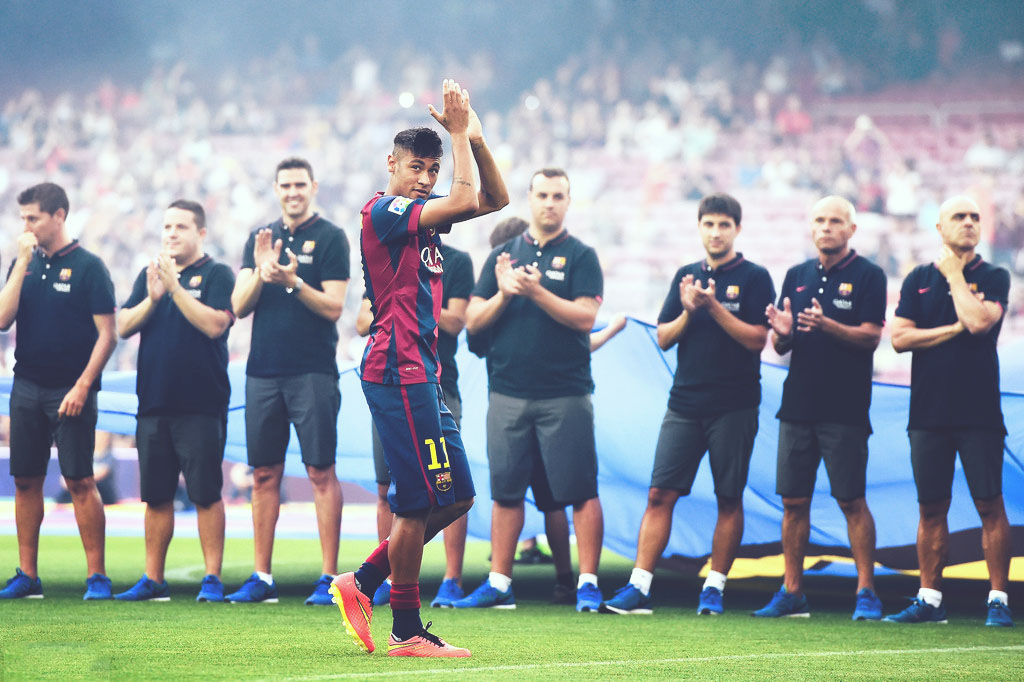 Neymar in FC Barcelona presentation game, in 2014-2015