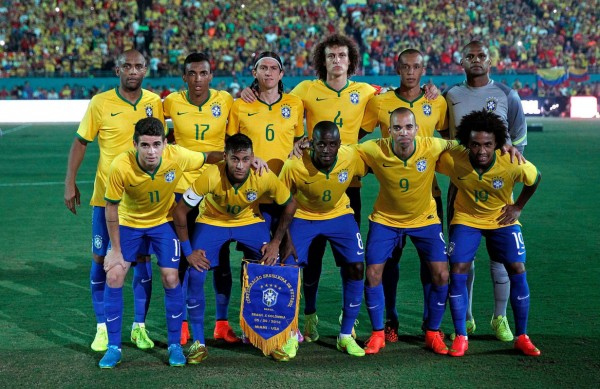 Brazil's Dunga starting eleven vs Colombia, in a friendly played in the US