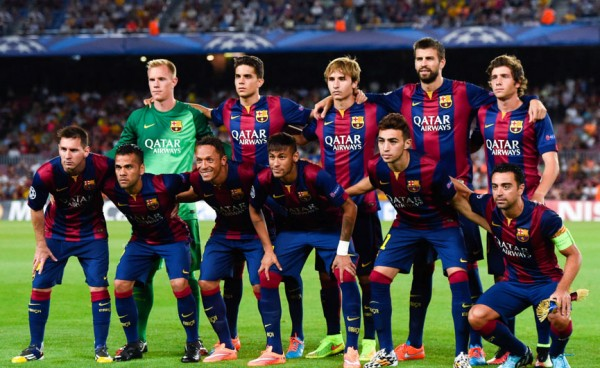 FC Barcelona lineup team photo, in the UEFA Champions League 2014-2015