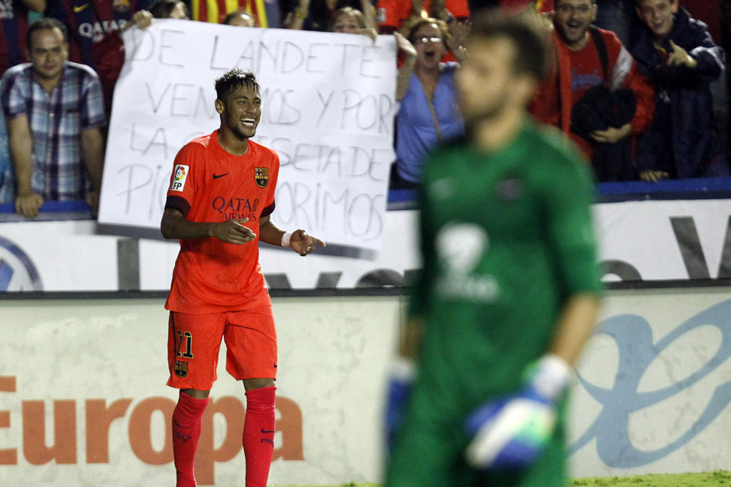 Neymar after netting a goal for FC Barcelona
