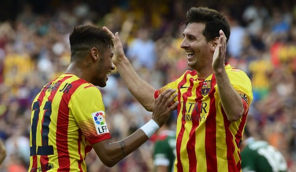 Neymar and Messi happy in FC Barcelona