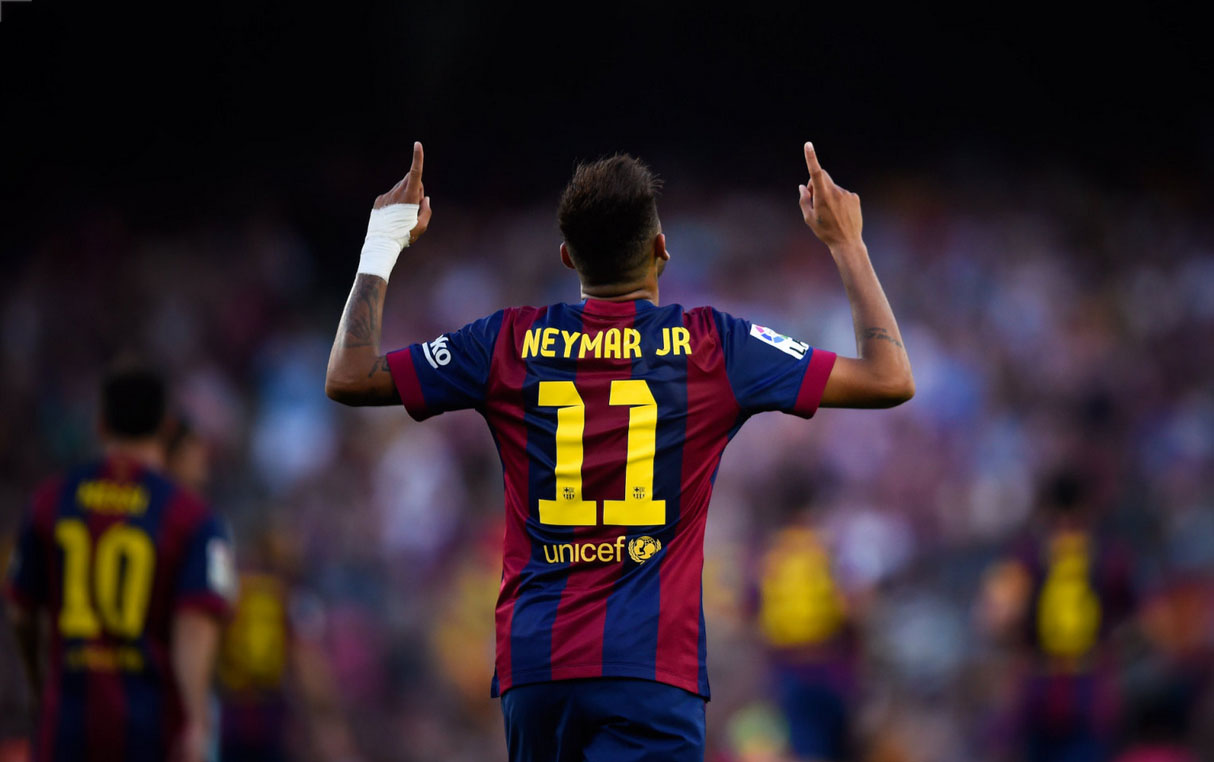 Neymar wearing in Barcelona number 11 jersey
