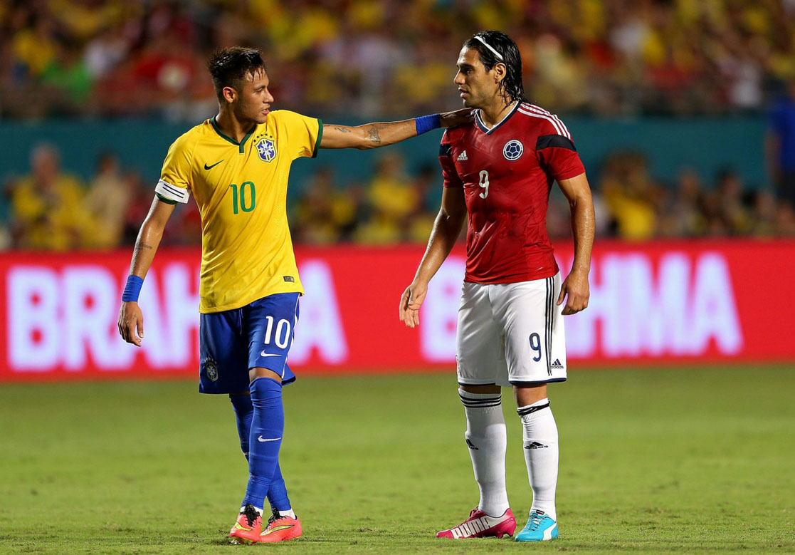 Neymar greeting Falcao in a friendly between Brazil and Colombia in 2014