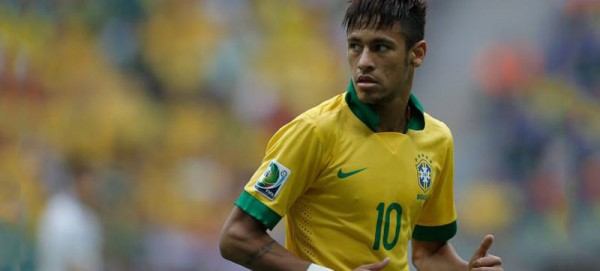 Neymar playing with Brazil's number 10 shirt