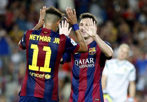 Neymar with Messi in FC Barcelona
