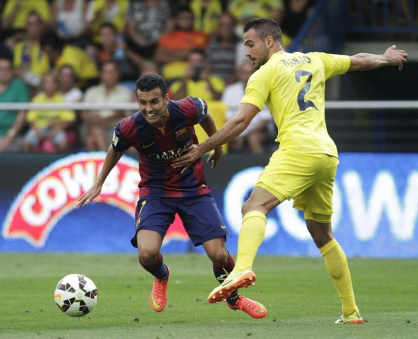 Pedro in action for Barcelona, against Villarreal