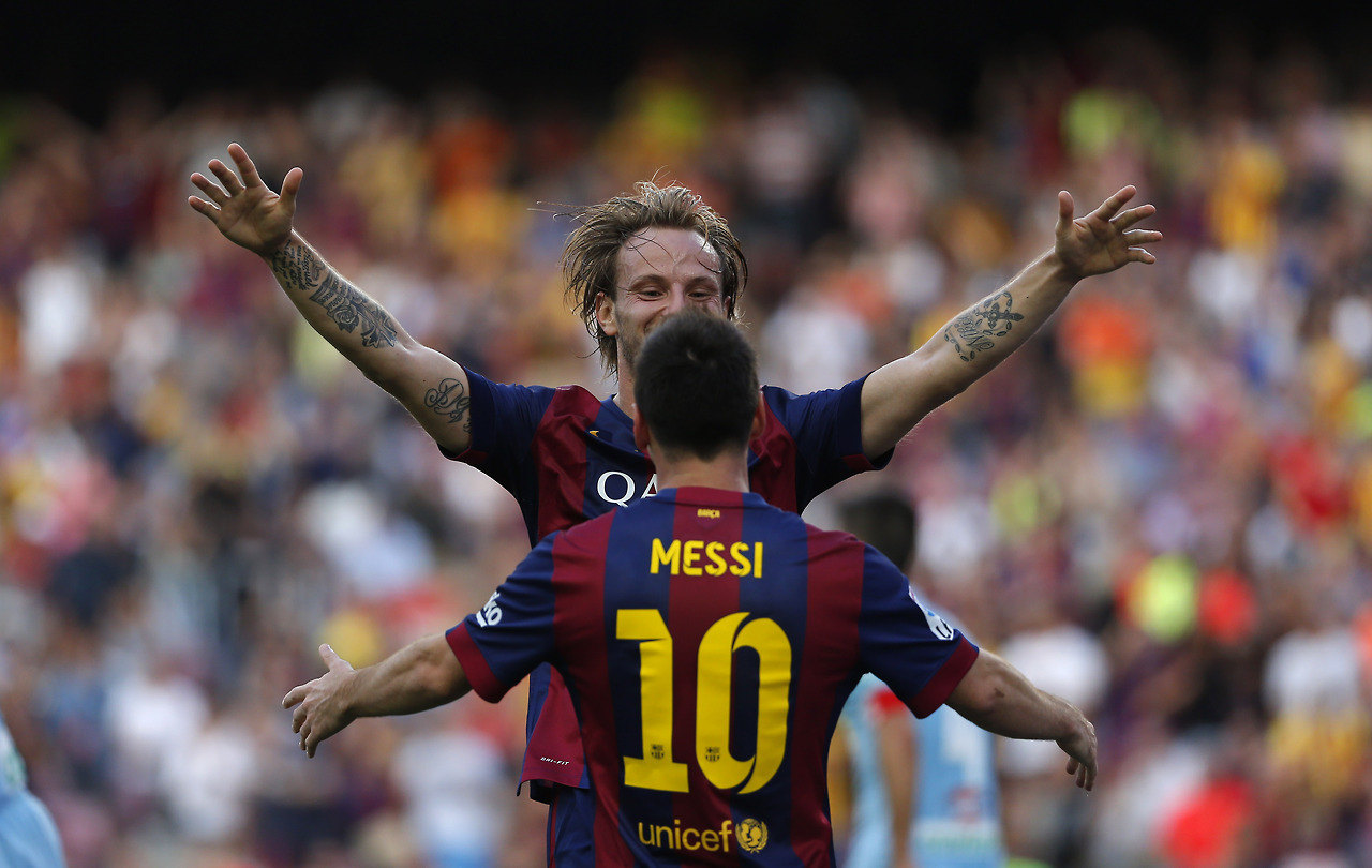 Rakitic and Lionel Messi