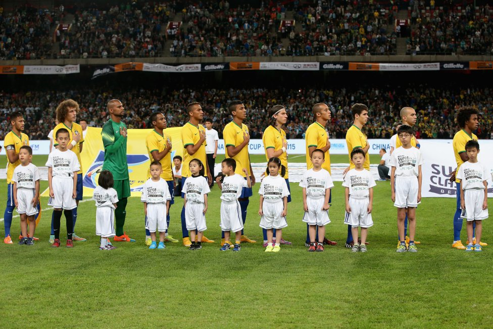 Brazil players during their national anthem in Beijing, China