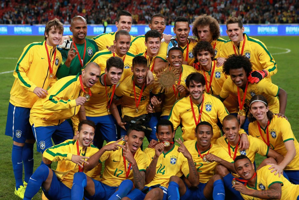 Brazilian players celebrating 2-0 win over Argentina