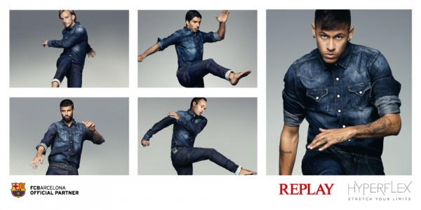 FC Barcelona players in Replay jeans advert