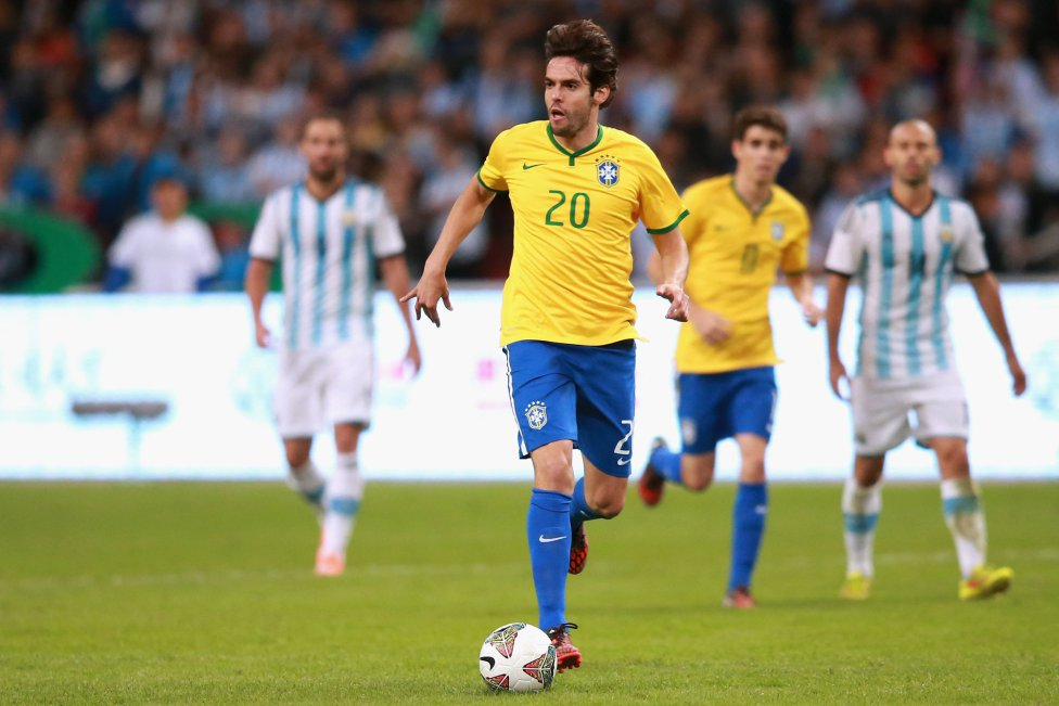 Kaká in action in Brazil vs Argentina, in 2014