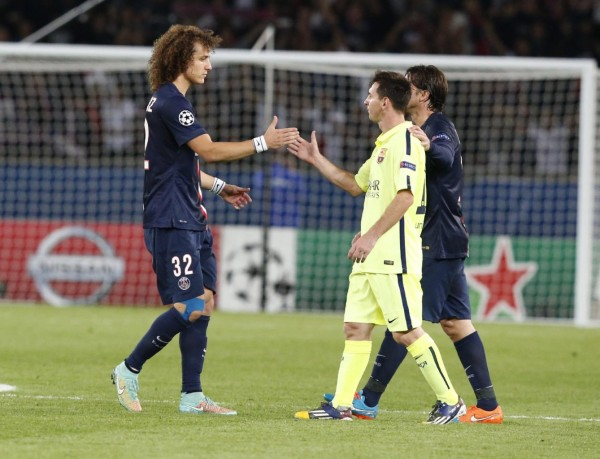 Lionel Messi and David Luiz, after PSG 3-2 Barcelona