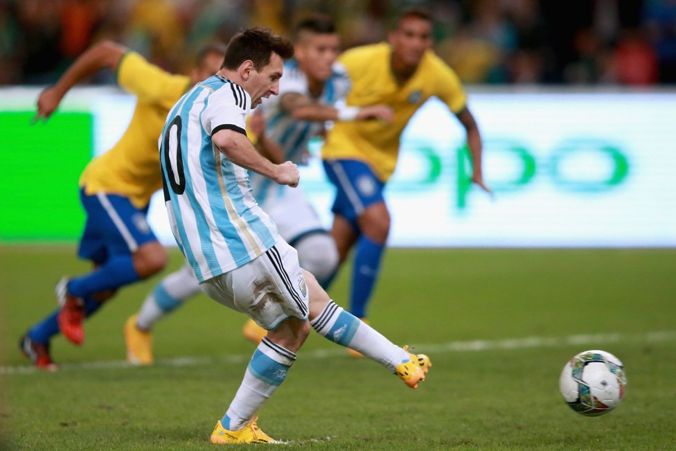 Lionel Messi penalty miss in Brazil vs Argentina