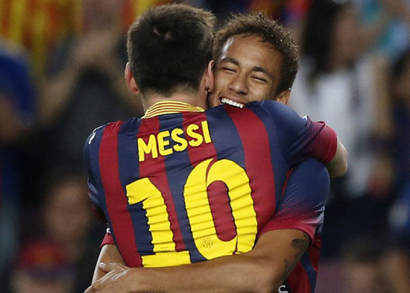 Messi and Neymar hugging each other