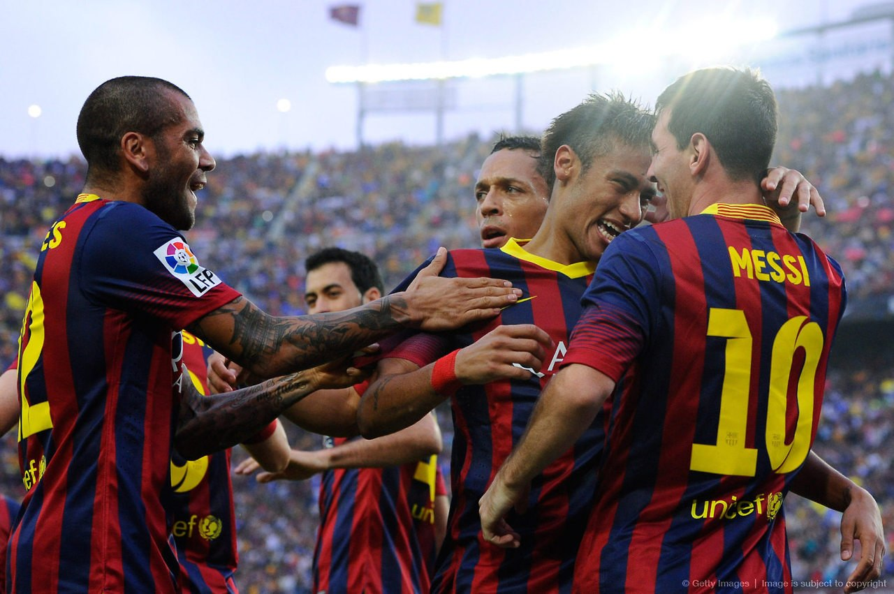 Messi and Neymar in a FC Barcelona goal celebration