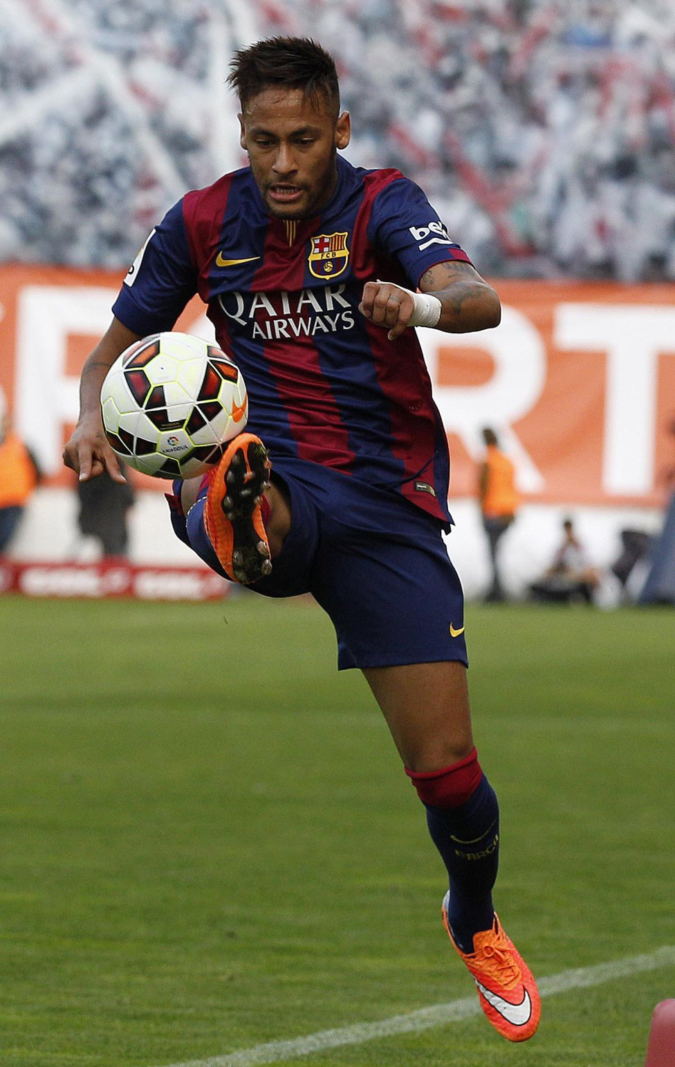 Neymar ball control with his right orange boot