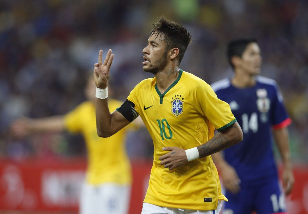 Neymar celebrating hat-trick in Japan vs Brazil