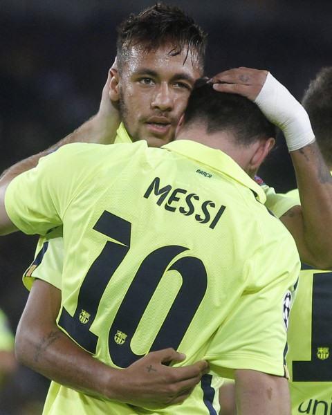 Neymar comforting Messi after a UEFA Champions League game