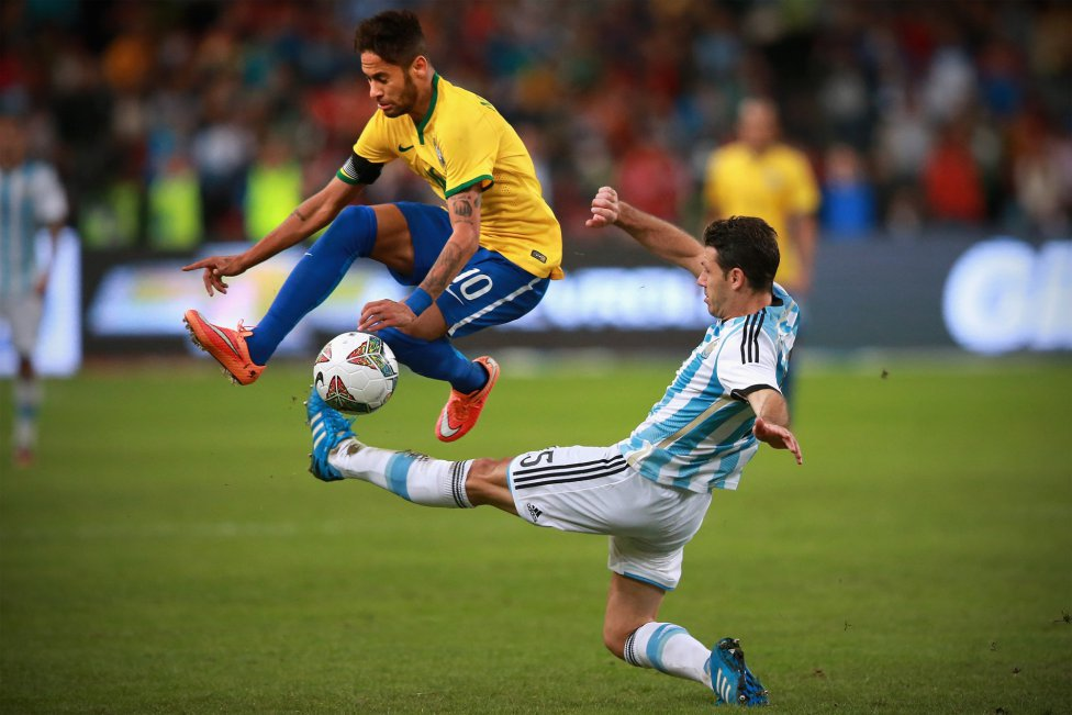 Neymar evading a harsh tackle