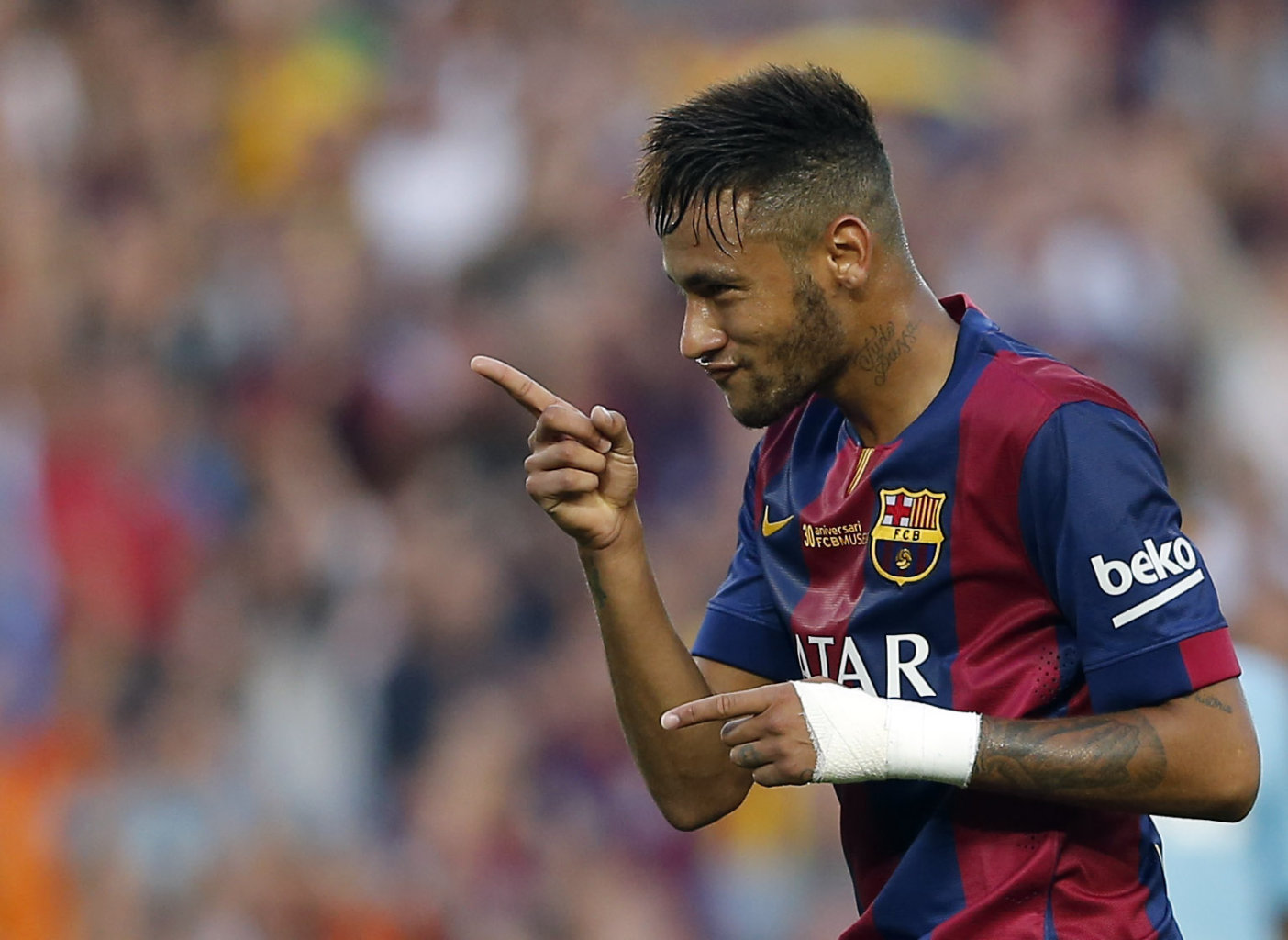 Neymar goal celebration for Barcelona in 2014-15