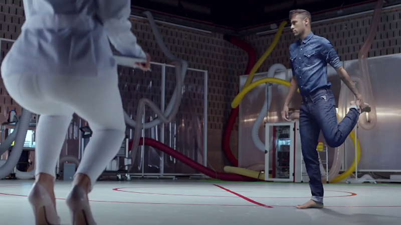 Neymar stretching in Replay jeans ad commercial