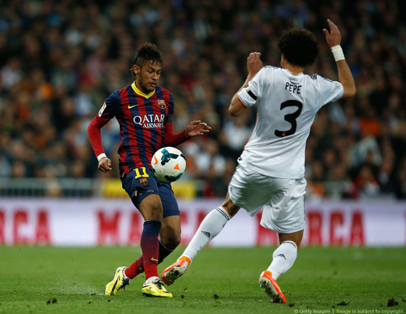 Neymar vs Pepe in Clasico between Real Madrid and Barcelona