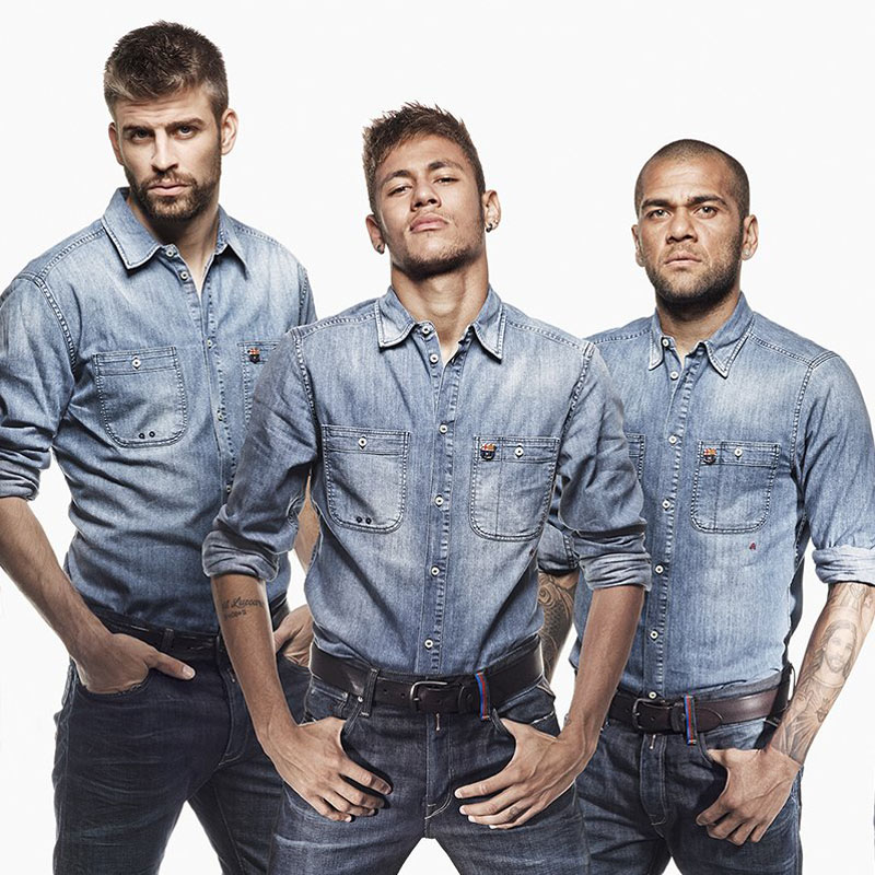 Piqué, Neymar and Daniel Alves in Denim jeans