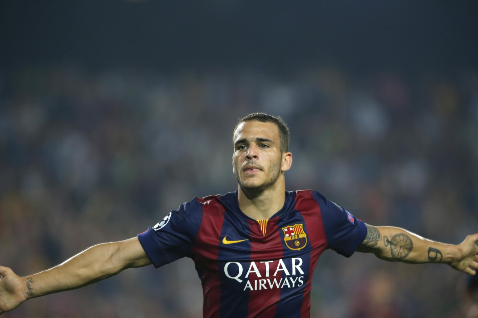 Sandro Ramírez after a goal for FC Barcelona